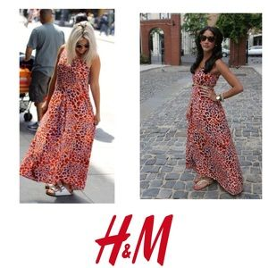 H&M orange leopard maxi dress 8